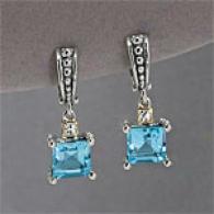 Samuel B 14k 4.02 Cttw. Topaz & Diamond Earrings