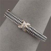 Samuel B 14k & Silver 0.13 Cttw. Diamond Bracelet