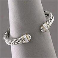 Samuel B Silver & 14k Diamond Accented Bracelet