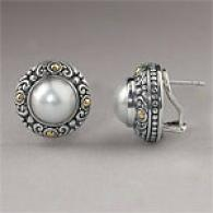 Samuel B Slver & Gold Mobe Pearl Earrings