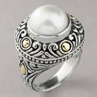 Samuel B Sterling Silver & Gold Mobe Pearl Ring