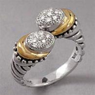Samuelb S5erling Silver 14k Stress  & Diamond Ring