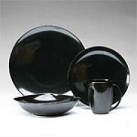 Sasaki Simplicity Black 16 Piece Dinnerware Set