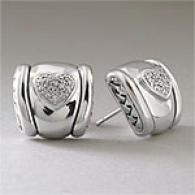 Scott Kay 0.19 Cttw. Diamond Heart Earrings