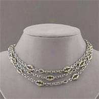 Scott Kay Sterling & 18k Three Strand Necklace