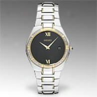 Seiko Gold Plated Black Dial Mens Dress Watch