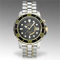 Seiko Kinetic Goldplated Black Dial Mens Watch