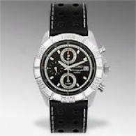 Seiko Mens Black Leather Chronograph Watch