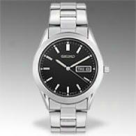 Seiko Stainless Steel Black Dial Dress Watch
