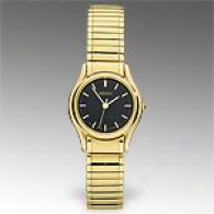 Seiko Womens Gold-tone Black Dial Dress Watch