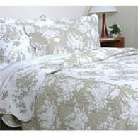 Serenity Flroal Toile Cotton Quilt Set