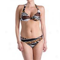 Sessa Striepd Animal Print 2pc Swimsuit