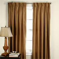 Set Of 2 Box Pleat Faux Silk Lined Window Panels