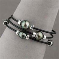 Set Of 3 8-9mm Tahitian Pearl Rubber Bracelets
