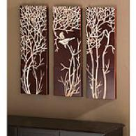 Set Of 3 Hand Carved Wooden Art Panels