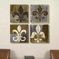 Set Of 4 16 X 16 Fleur De Lis Canvas Prints