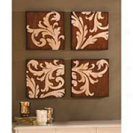 Set Of Four Damask Carved Wood Art Wall Panels