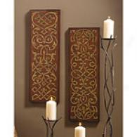 Set Of Two Carved Wood Wall Art Panels