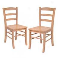 Set Of Two Ladder Back Chairs