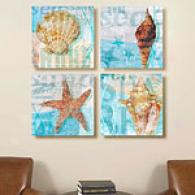 She Sells Seashells Set 16in X 16in Canvas Prints