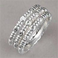 Silver 0.14 Cttw. Diamond Accent Stack Ring