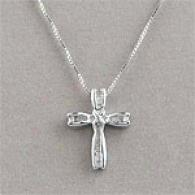 Silver & 0.25 Cttw. Diamond Cross Pendant