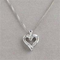 Silvery & 0.25 Cttw. Diamond Heart Pendant