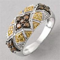 Silver 0.50 Cttw. Red & Yellow Diamond Ring