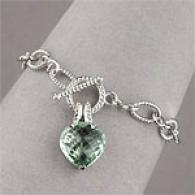 Silver 10.00 Cttw. Amethyst Heart Charm Bracelet