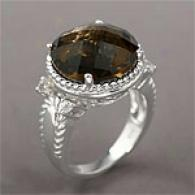 Silver 10.06 Cttw. Smoky Quartz & White Topaz Ring
