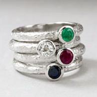 Silver 1.19 Cttw .multl-gemstone Stack Ring