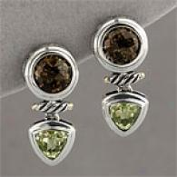 Silver & 14k 5.50 Cttw. Multi Gemstone Earring