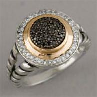 Silver & 14k Gold 0.33 Cttw. Black DiamondR ing