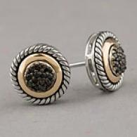 Silver & 14k Gold Black Diamind Cable Earrings