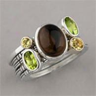 Silver & 14k Gold Multi Gemstone Stack Ring