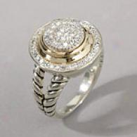 Silver & 14k Yellow Gold 0.33 Cttw. Diamond Ring
