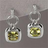 Silver 2.03 Cttw. Apple Quartz & Diamond Earrings