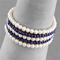 Silver 30.00 Cttw. Sapphire & Pearl Bracelet