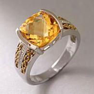 Silver 3.63 Cttw. Semi-bezel Set Citrine Ring