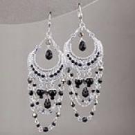 Silver 72 Cttw. Onyx Layered Chandelier Earrings