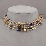 Silver 97.00 Cttw Gemstone & Golden Pearl Necklace