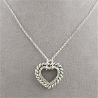 Silver Cable & Diamond Open Heart Pendant