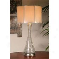 Silver Crackle Jeweled Bottle Table Lamp