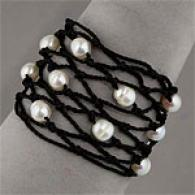 White Freshwater Pearl Bracelet & Black Silk Cord