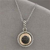 Silver & Gold Black Diamond Pendant Necklace