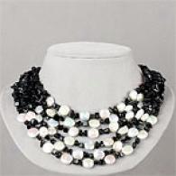 Silver White Convert  Pearl & Black Agate Necklace