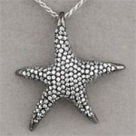 Silver & White Topaz Starfish Pendant
