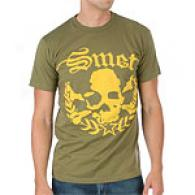 Smet Skull Green Cotton Short Sleeve T-shirt