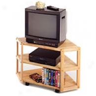 Solid Wood Corner Tv Stand & Shelf