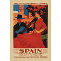 Spain, Where Sun Is Shining 12in X 18in Canvas